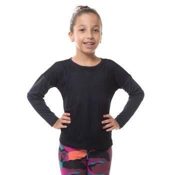 Blusa Sport com Proteção Solar Mesh Infantil UV.LINE - Preto
