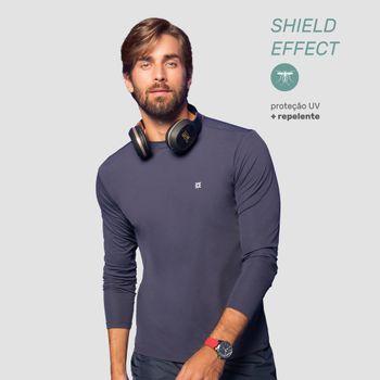 Camiseta com Proteção Solar Repelente Masculina UV.LINE - Marinho