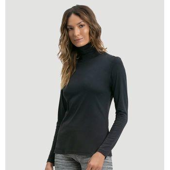Blusa Gola Alta com Proteção Solar UV.LINE - Preto