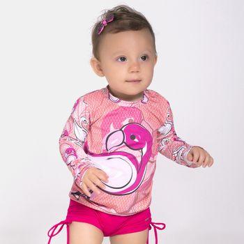 Camiseta Baby UV com Proteção Solar Flamingo UV.LINE