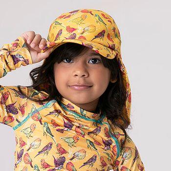 Boné Legionário Infantil com Proteção Solar UV.LINE Estampa Pássaros