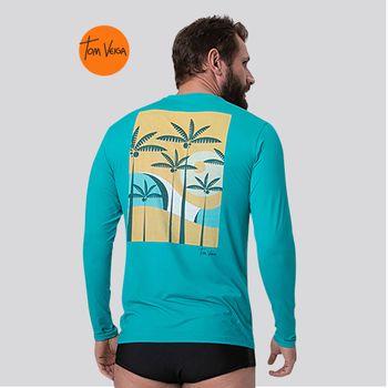 Camiseta com Proteção Solar UV TOM INDONÉSIA VIBES UV.LINE - Turquesa