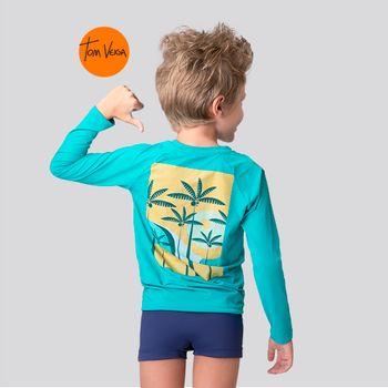 Camiseta com Proteção Solar UV TOM VIBES UV.LINE - Turquesa