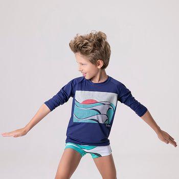 Camiseta com Proteção Solar UV Acqua Tom Big Swell UV.LINE- Marinho
