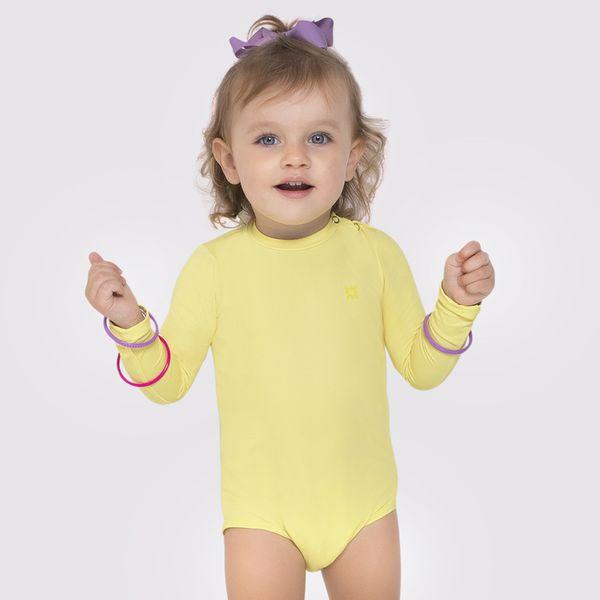 Maiô Baby com Proteção Solar  UV UV.LINE - Amarelo Claro