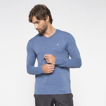 Camiseta com Proteção Solar UV Sport Fit Mescla UV.LINE - Índigo