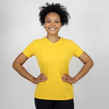 Camiseta com Proteção Solar  UV Sport Fit Feminina UV.LINE - Amarelo Viana