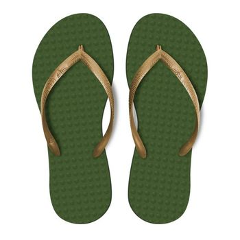 Chinelo Green Flip Flops Femino - Verde Musgo