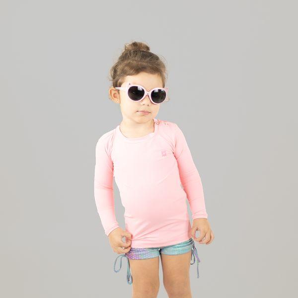Camiseta Baby com Proteção Solar UV.LINE Nina Rosa Claro