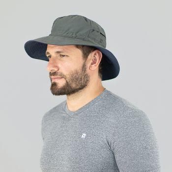 Chapéu com Proteção Solar UV.LINE - Austrália - Chumbo/Marinho