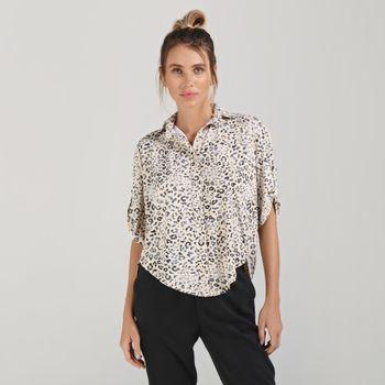Camisa Bola Com Proteção Solar UVLINE Estampa Animal Print
