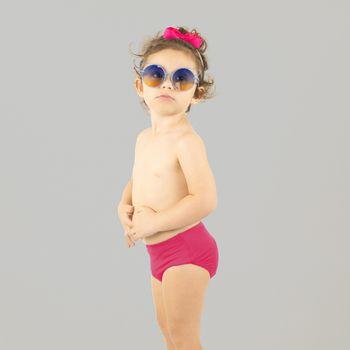 Sunkini Hot Pant Com Proteção UV.LINE Rosa Batom