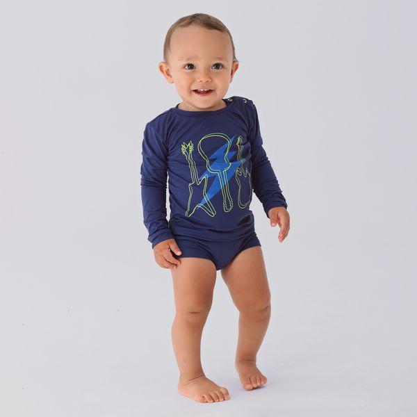 Camiseta Baby Com Proteção Solar UV.LINE Estampa Guitarra