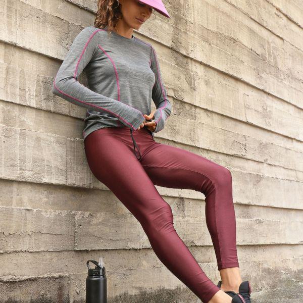 Calça Legging Metallic Basic Com Proteção Solar UV.LINE Bordô