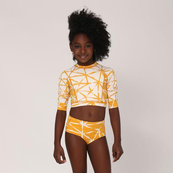 Biquíni Infantil Hot Pant Com Proteção Solar UV.LINE Estampa Estrela