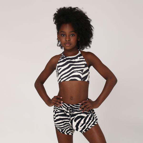 Shorts Fit Infantil Com Proteção Solar UV.LINE Estampa Zebra