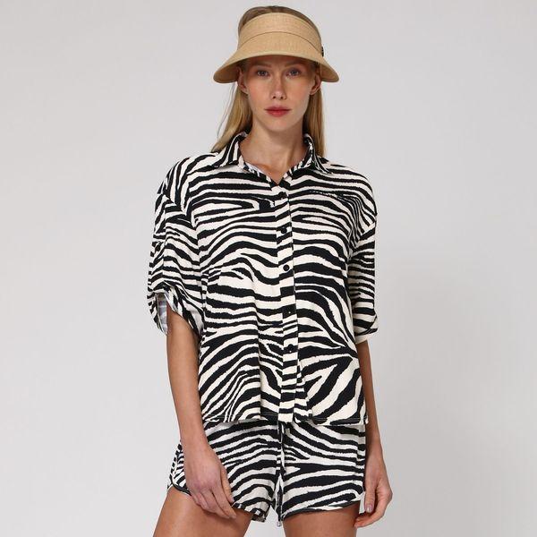 Camisa Feminina Com Proteção Solar UV.LINE Estampa Zebra