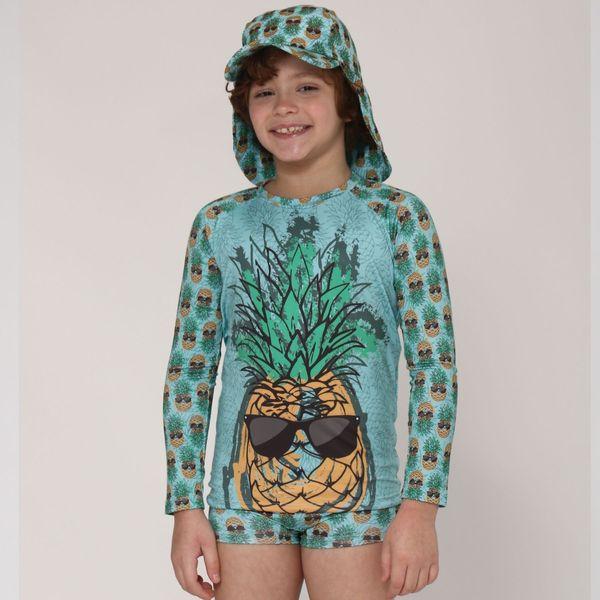 Camiseta Acqua Infantil Com Proteção Solar UV.LINE Estampa Abacaxi
