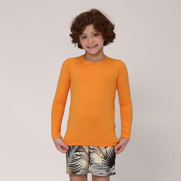 Camiseta Infantil UVPRO Com Proteção Solar UV.LINE Amarelo Queimado