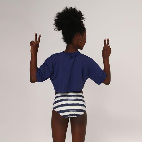 Camiseta Cropped Infantil Com Proteção Solar UV.LINE Marinho