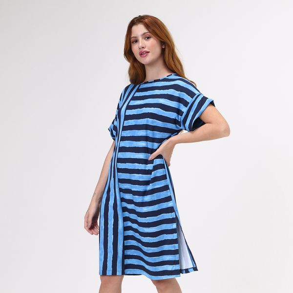 Saída de Praia T-Shirt Com Proteção Solar UV.LINE Estampa Listras Azul