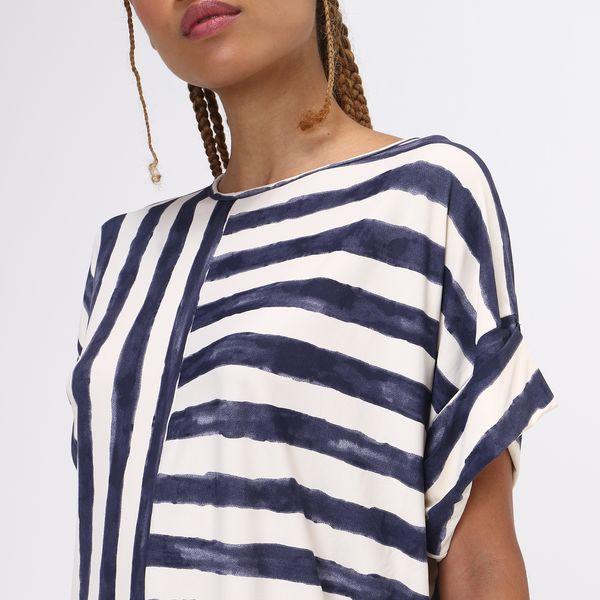 Saída de Praia T-Shirt Com Proteção Solar UV.LINE Estampa Listras Off White