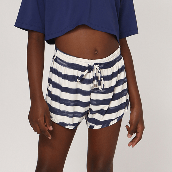 Shorts Fit Infantil Com Proteção Solar UV.LINE Estampa Listras