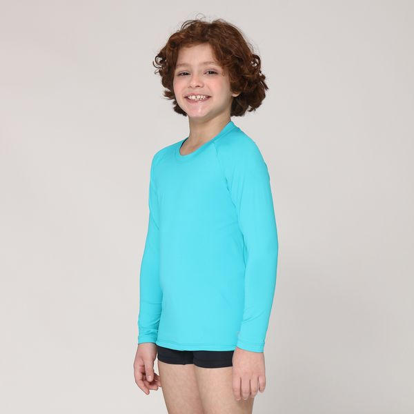 Camiseta UVPRO Infantil com Proteção Solar UV.LINE Azul Piscina